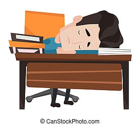 Fatigued caucasian student sleeping at the desk with books. Tired student sleeping after learning. Man sleeping among books at the table. Vector flat design illustration isolated on white background.