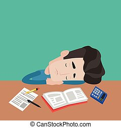 Young male student sleeping at the desk with book, exercise book, calculator. Tired caucasian student sleeping after learning. Concept of education. Vector flat design illustration. Square layout.
