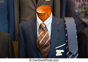 Male suit in the clothes shop