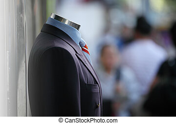 Male suit on display - Male suit in street on display,...