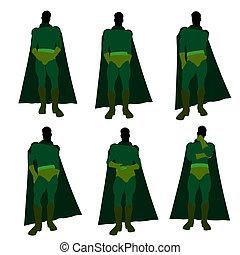 Male Super Hero Illustration Silhouette