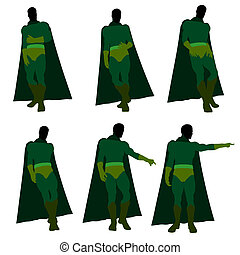 Male Super Hero Illustration Silhouette - Male super hero...