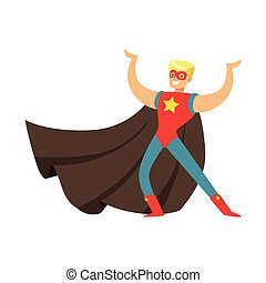 Male superhero in cape posing and showing muscles - Male...