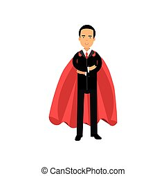 Male superhero in classic business suit with tie and red cape. Cartoon man character standing with arms crossed. Occupation or career. Flat vector design