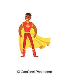 Male superhero in classic comics costume with cape - Black...