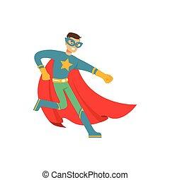 Male superhero in comics costume have fun - Boy superhero in...