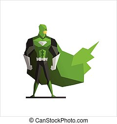 Superhero In Green Suite Vector Illustration - Male...