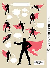 Masculine action superhero with blank speech bubbles. Good use for your symbol, logo, sticker, wallpaper, or any design you want. Easy to use or change color. Each object is a group.