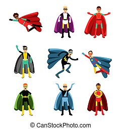 Male superheroes in different costumes set of colorful vector Illustrations