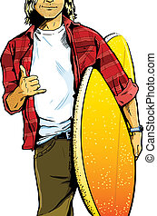 Male surfer dude carrying a surfboard and showing a stoked hand symbol. Framed to show particular detail to the clothes and clear space within the t-shirt area. Vector format and fully editable.