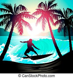 Male surfing at sunrise at a tropical beach