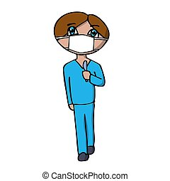 male surgeon in a mask with a scalpel in his hands. White background isolated cartoon vector illustration