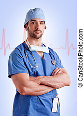 Male Surgeon - Young male surgeon with scrubs and a...