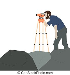 Man with geodetic instrument on the rock. The work of the surveyor. Device and a man on a white background.