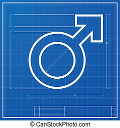 male symbol blueprint