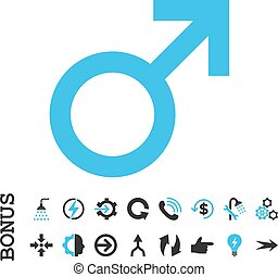 Male Symbol Flat Vector Icon With Bonus