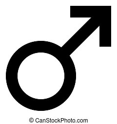 Male symbol icon - black simple, isolated - vector