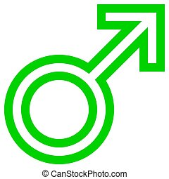 Male symbol icon - green outlined, isolated - vector