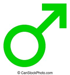 Male symbol icon - green simple, isolated - vector
