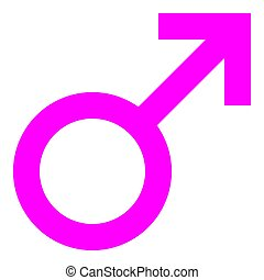 Male symbol icon - purple simple, isolated - vector