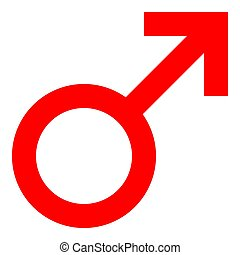 Male symbol icon - red simple, isolated - vector