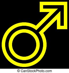 Male symbol icon - yellow outlined, isolated - vector