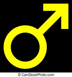 Male symbol icon - yellow simple, isolated - vector