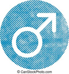 Male symbol Mars vector icon with pixel print halftone dots text