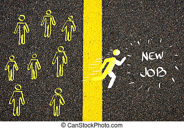 Male symbol running accross the line to New Job