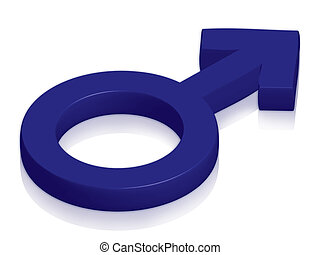 Male symbol in blue on glossy surface
