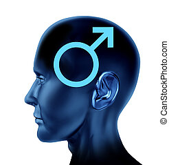 Male symbol with a side view human head and an icon for man...