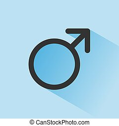 Male symbol with shade on a blue background. Science icon
