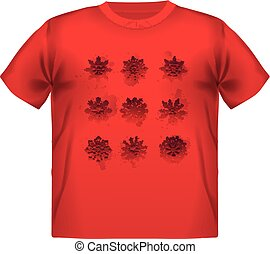 t-shirt with fiery snowflake print background.