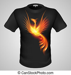 Male t-shirt with print. - Black male t-shirt with fiery ...