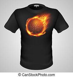 Male t-shirt with print. - Black male t-shirt with lava ball...