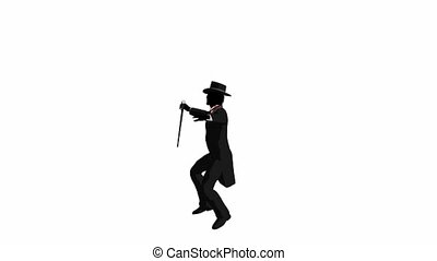 Male tap dancer dancing on a white background