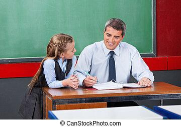 Male Teacher Explaining Lesson To Schoolgirl At Desk