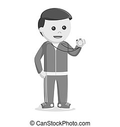 Male teacher sport holding stopwatch