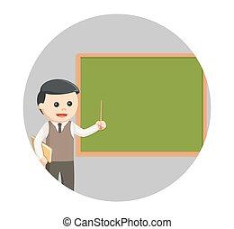 male teacher teaching in circle background
