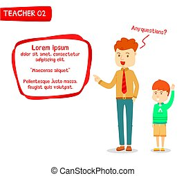 Male teacher teaching student with modern text box, Young men teacher teaching schoolboy, Schoolboy raised hand for ask question to teacher, Male teacher and Schoolboy character talking, Stylized