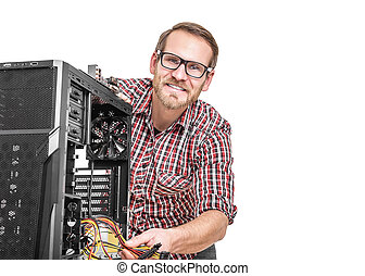 Male technician with computer.