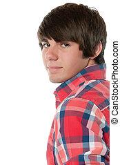Male teenager looking back - Good looking teenage boy in...