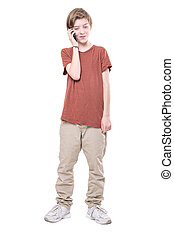 male teenager on the phone, isolated on white