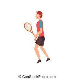 Male Tennis Player with Racket in His Hand, Professional Sportsman Character Wearing Sports Uniform Vector Illustration