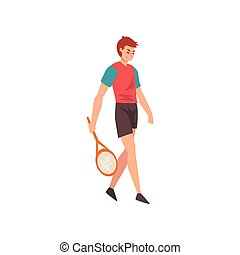 Male Tennis Player with Racket, Professional Sportsman Character in Sports Uniform Vector Illustration