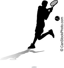 Silhouette with ground shadow of a male tennis player returning a server.