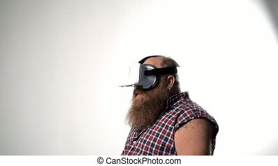 Male thick hipster watching vr device - Fat guy with bearded...