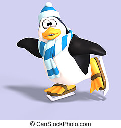 male toon penguin - male toon enguin with hat and scraf and ...