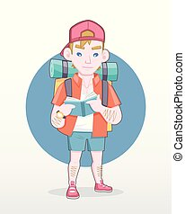 Male tourist with backpack reading guidebook illustration