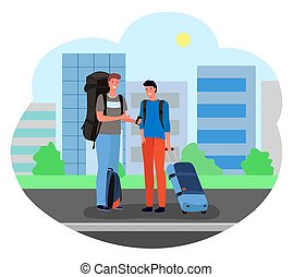 Male Tourists Standing with Suitcases and Luggage